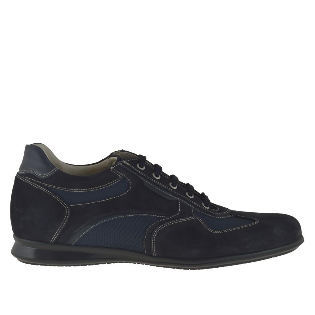 homme sporif chaussure avec lacets en daim et tissu bleu fonc ghigocalzature. Black Bedroom Furniture Sets. Home Design Ideas