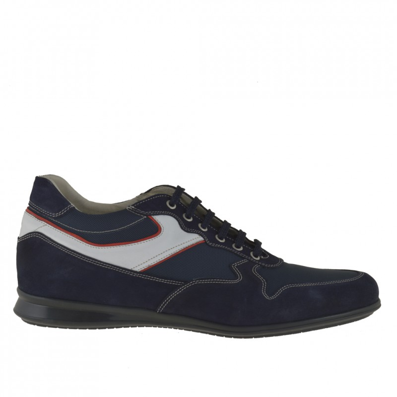 Men sport lace-up shoe in dark blue suede and fabric with trims in white and red leather - Available sizes:  46, 52