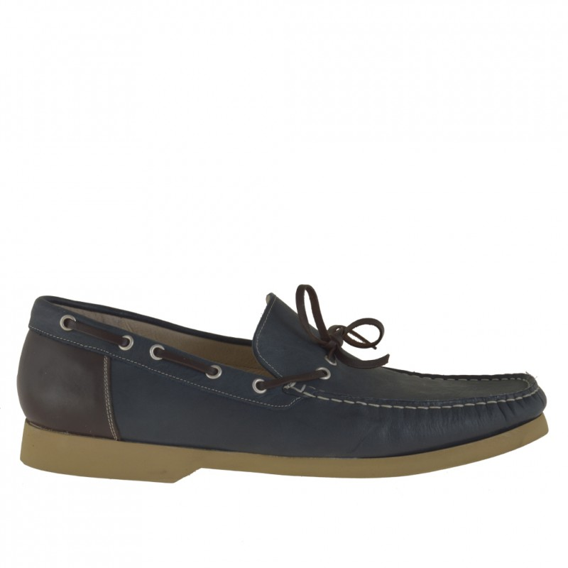 Men sport mocassin in dark blue leather and trims in brown leather - Available sizes:  48