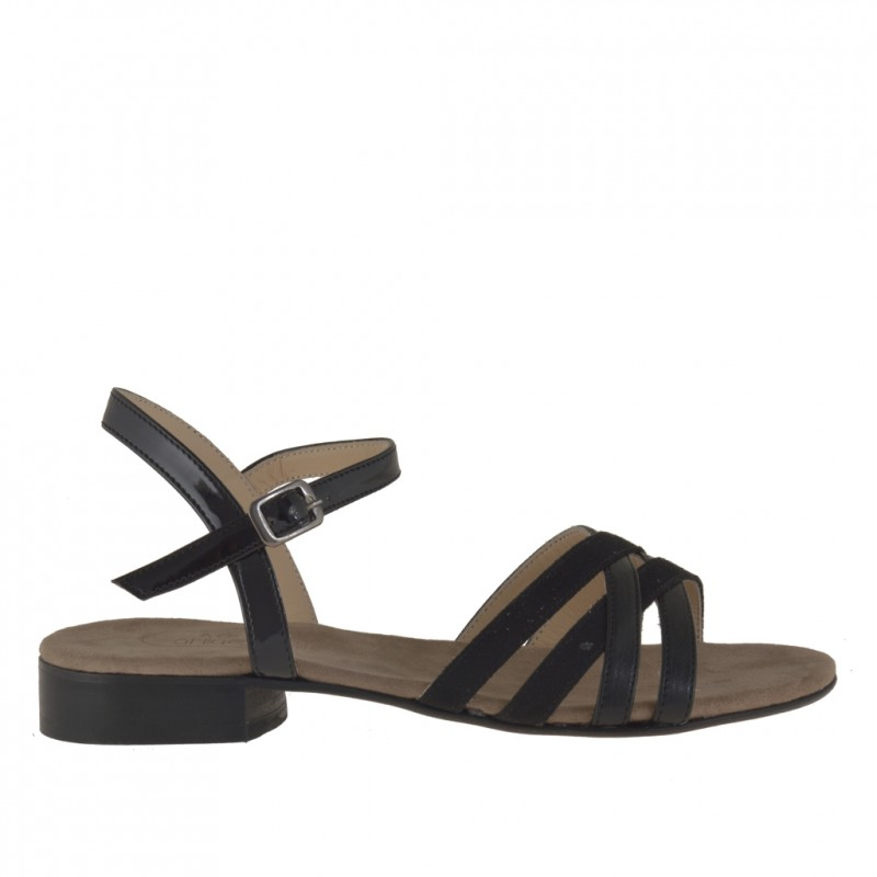 Woman strappy sandal with anklestrap in black leather and suede - Available sizes:  31