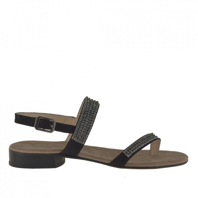 Sandalias de dedo con estrases para mujer en gamuza de color negro tacon 2 - Tallas disponibles:  31