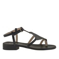 Sandalo da donna infradito con strass in pelle colore nero tacco 2 - Misure disponibili: 31