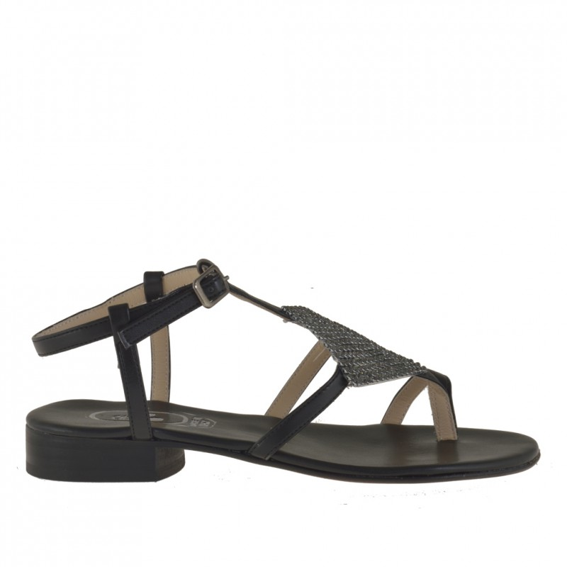 Woman thong sandal with strass in black leather with heel 2 - Available sizes:  31
