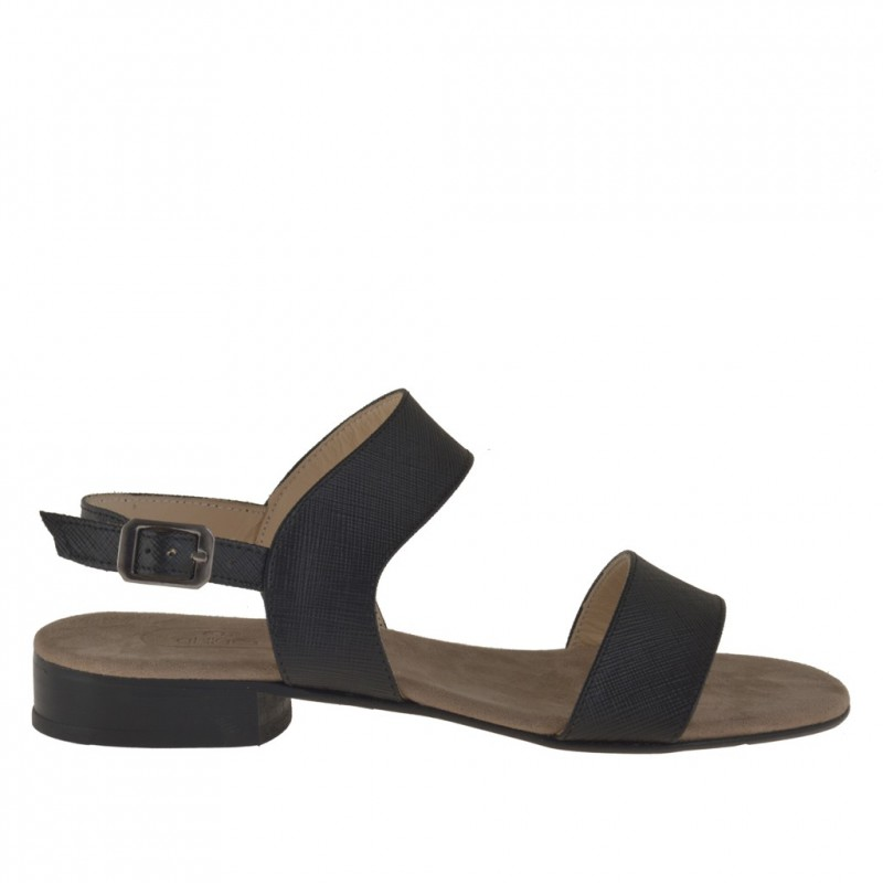 Femme 2 bandes sandale avec courroie en cuir noir avec talon 2 - Pointures disponibles:  31