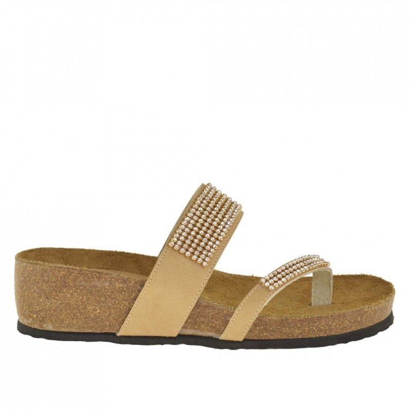 Woman flip-flop open sabot with cork wedge and strass in beige leather - Available sizes:  42