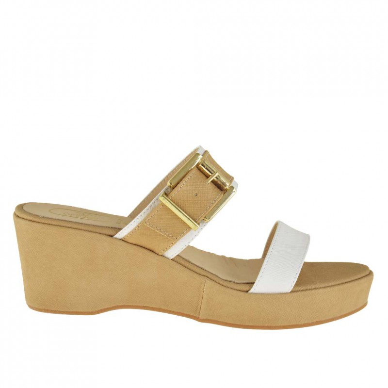 Woman open mules with wedge and platform and buckle in white and beige leather - Available sizes:  42