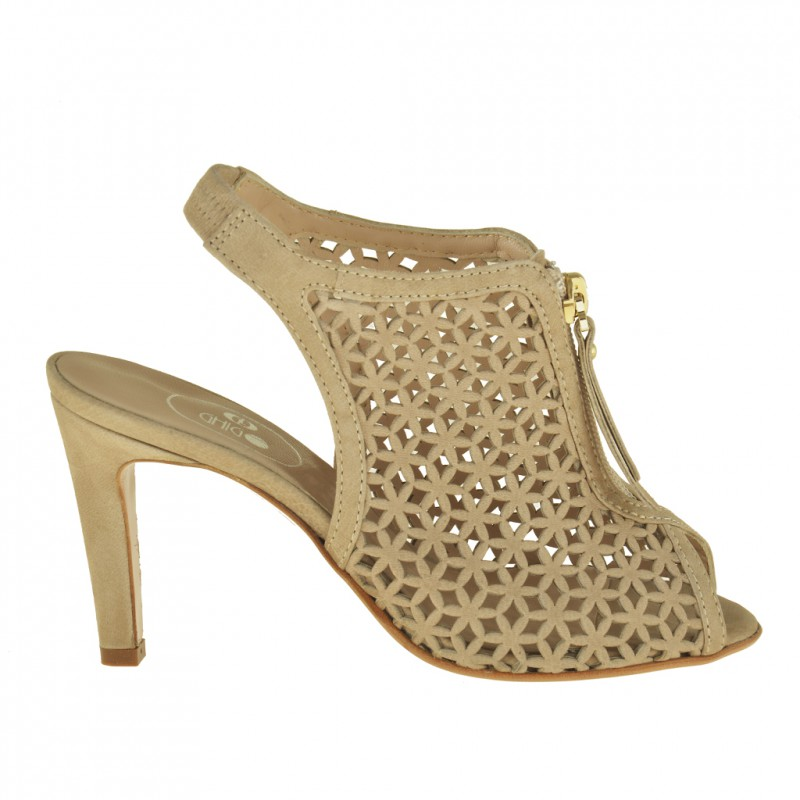 Woman ankle-boot sandal with zip in beige pierced leather wih heel 8 - Available sizes:  42, 43