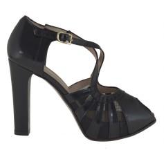Scarpa da donna aperta con cinturino e plateau in pelle colore e tela nero tacco 10 - Misure disponibili: 31, 43