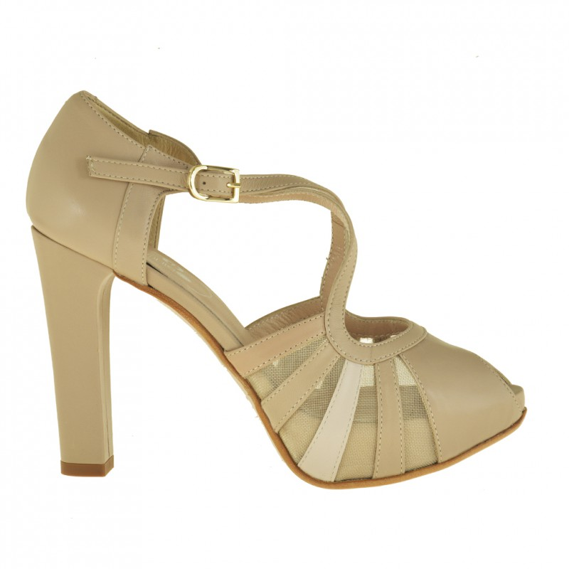 Woman open platform pumps with strap in beige leather and beige fabric with heel 10 - Available sizes:  43, 46
