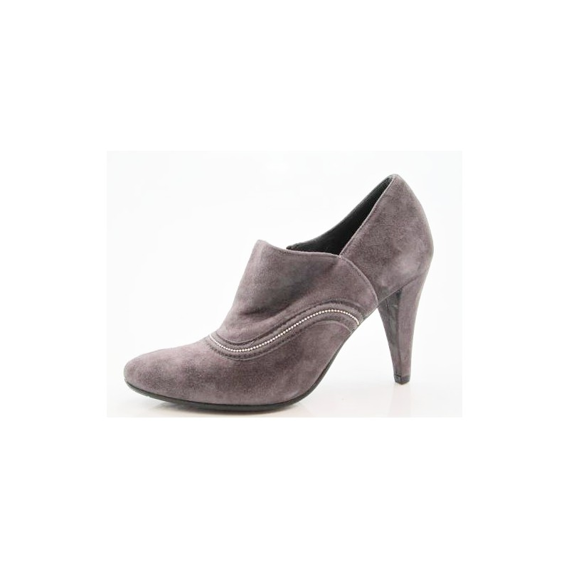 Anklehigh pump with zip in taupe suede - Available sizes:  42