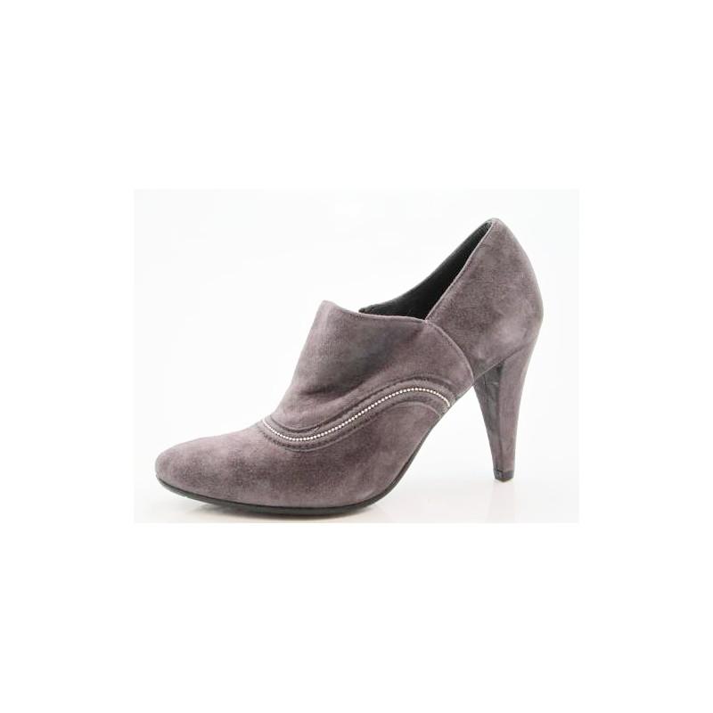 Zapato alto al tobillo con cremallera en gamuza color gris pardo tacon 8 - Tallas disponibles:  42
