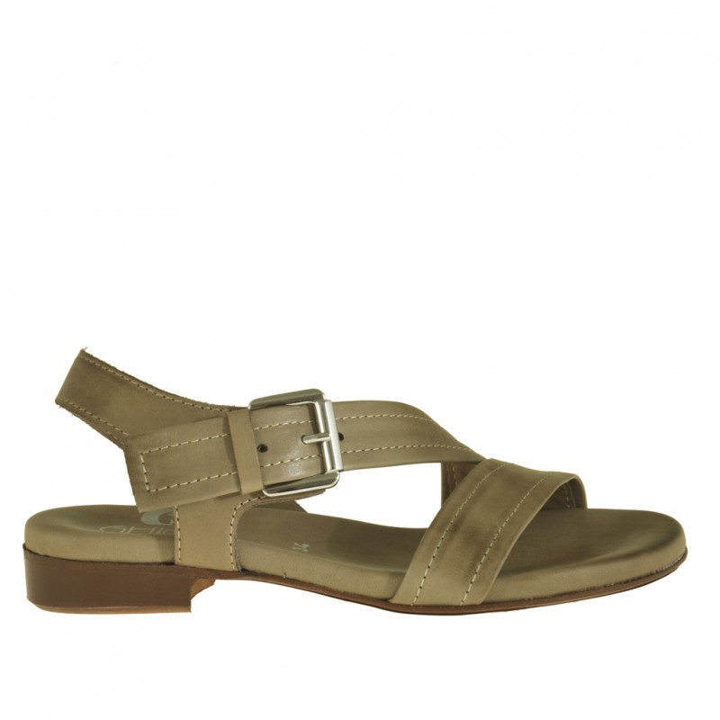 Woman sandal with diagonal strap in earth tone leather with heel 2 - Available sizes:  32