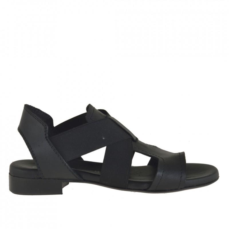 Femme sandale avec bandes élastiques en cuir noir - Pointures disponibles:  32