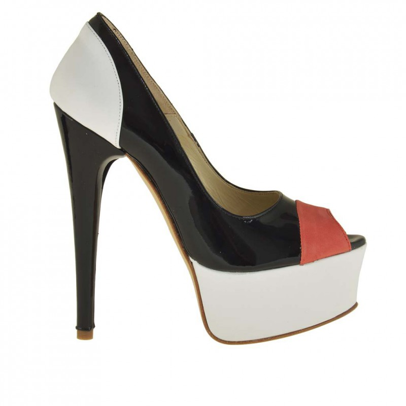Woman platform open toe pumps in black patent leather and white and red leather with heel 14 - Available sizes:  31