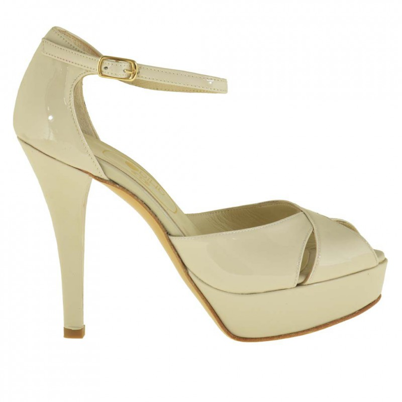 Woman open platform pump with anklestrap in beige patent leather - Available sizes:  46