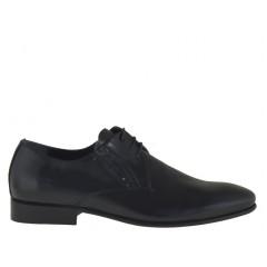 Homme elégant chaussure avec lacets en cuir verni noir - Pointures disponibles: 36