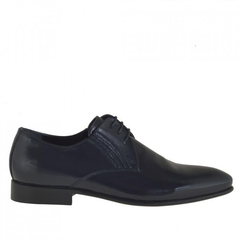 Homme elégant chaussure avec lacets en cuir verni bleu foncé - Pointures disponibles:  37