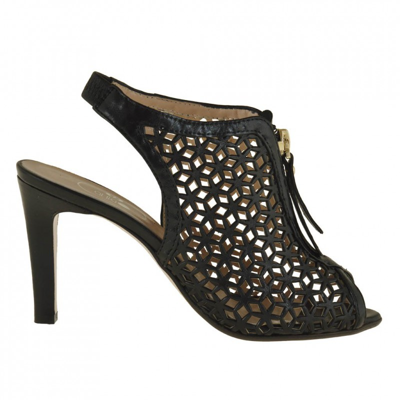Woman ankle-boot sandal with zip in black pierced leather wih heel 8 - Available sizes:  31