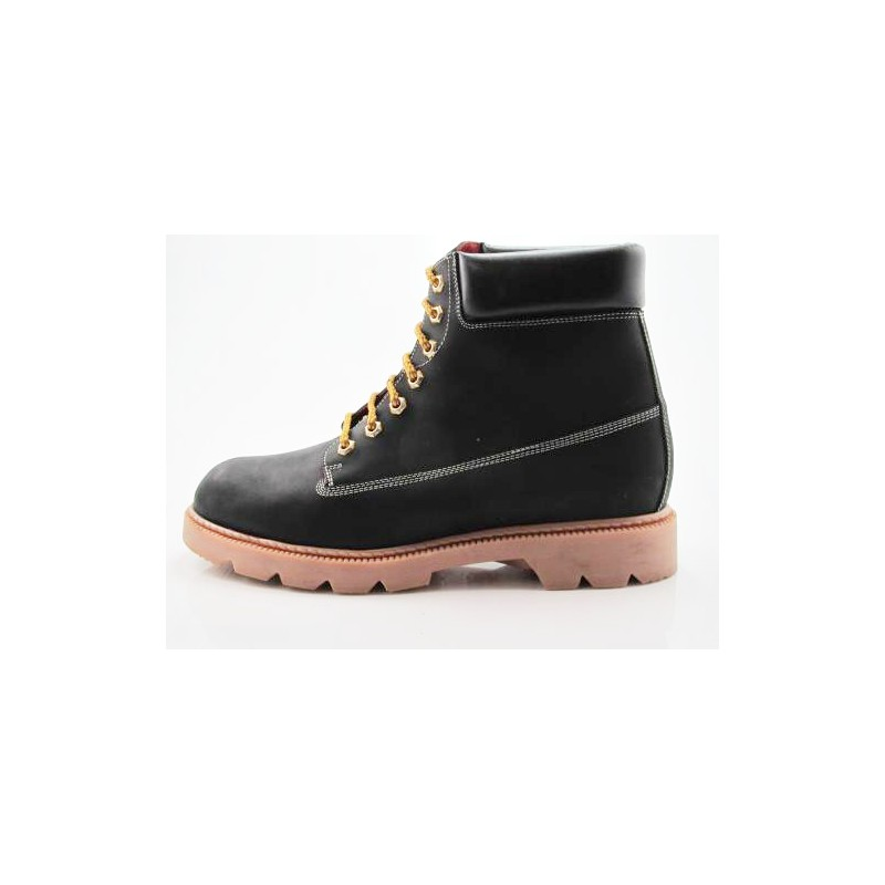 Anklehigh boot in black leather - Available sizes:  47, 48