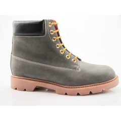 Men's laced ankle boot in grey and black leather - Available sizes:  47, 48