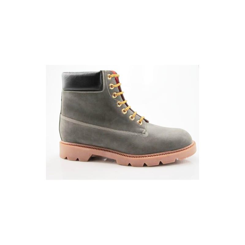 Bottine avec lacets pour hommes en cuir gris et noir - Pointures disponibles:  47, 48