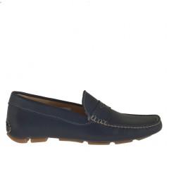 Mocassin sportif pour hommes en cuir bleu - Pointures disponibles:  36, 52
