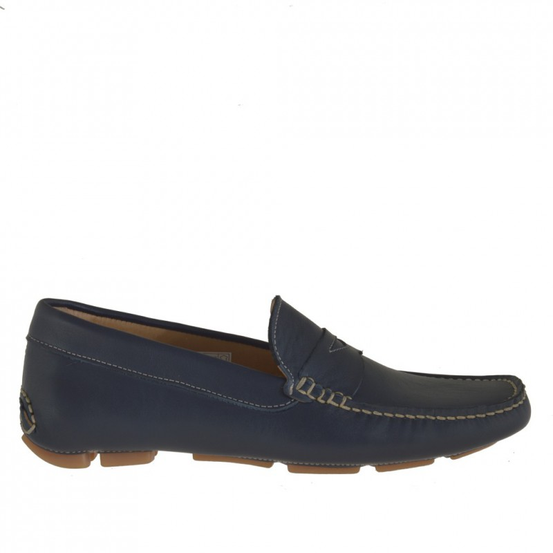 Men's casual mocassin in dark blue leather - Available sizes:  36, 52