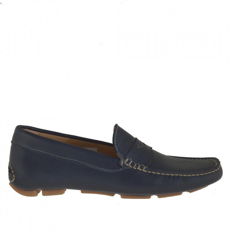 Mocassin sportif pour hommes en cuir bleu - Pointures disponibles:  36