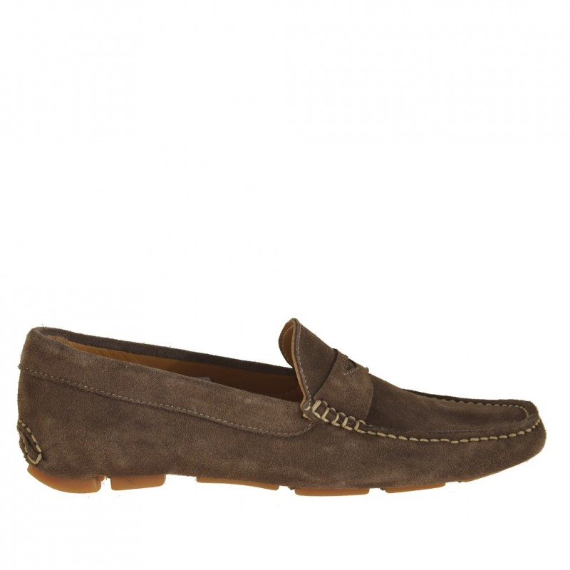 Men sport mocassin driver shoe in brown suede - Available sizes:  52