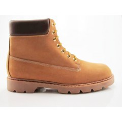 Men's laced ankle boot in ochre and brown leather - Available sizes:  47