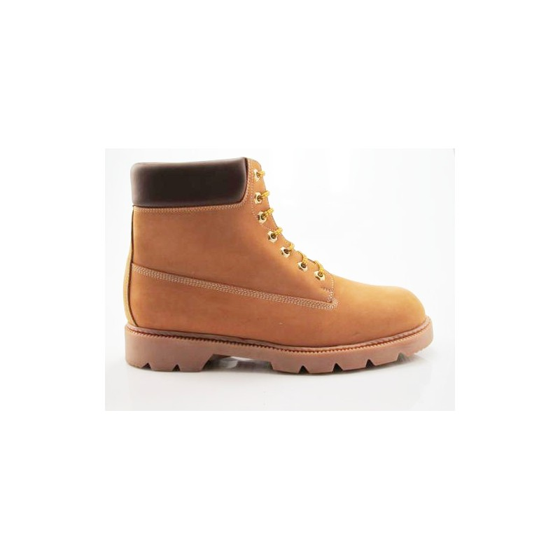 Bottine avec lacets en cuir ocre - Pointures disponibles:  47