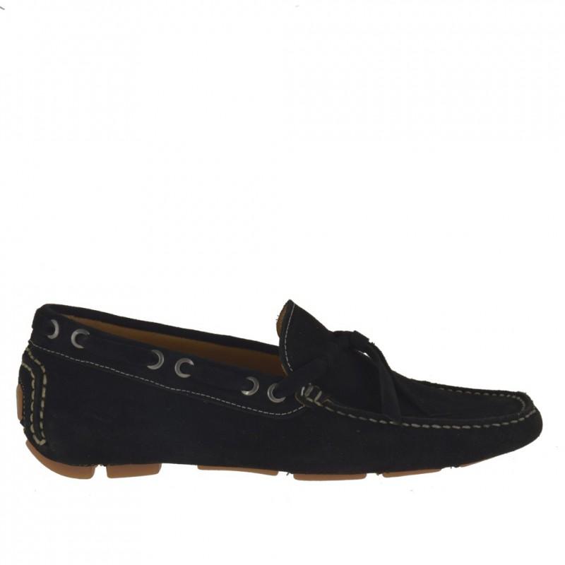 Herrenmokassin mit Schnüren aus schwarzem Wildleder - Verfügbare Größen:  52
