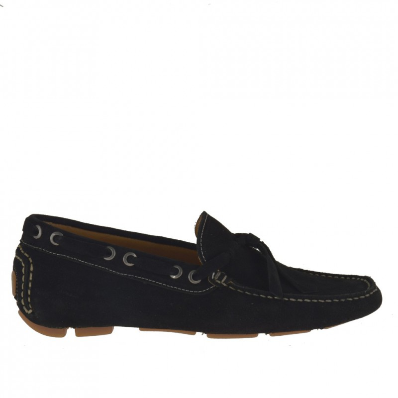 Men's laced car shoe in black suede - Available sizes:  52