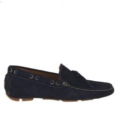 Scarpa da uomo mocassino sportivo carshoe in pelle scamosciata colore blu - Misure disponibili: 51