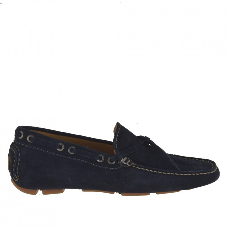 Men's laced car shoe in blue suede - Available sizes:  51