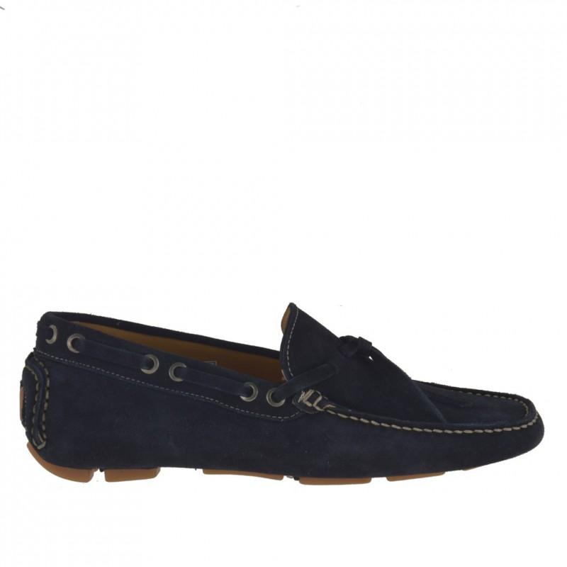 Mocasino para hombres con cordones en gamuza azul  - Tallas disponibles:  51