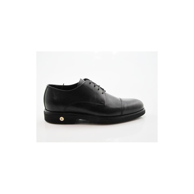 Laced men's shoe with captoe in black leather - Available sizes:  50, 51