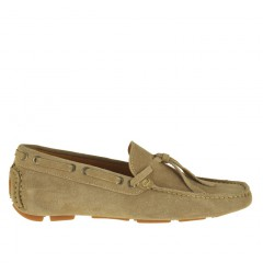 Scarpa da uomo mocassino sportivo carshoe in pelle scamosciata colore beige - Misure disponibili: 52