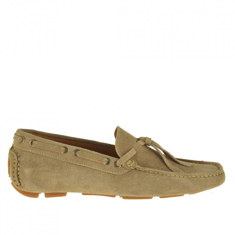 Men's laced car shoe in beige suede - Available sizes:  52