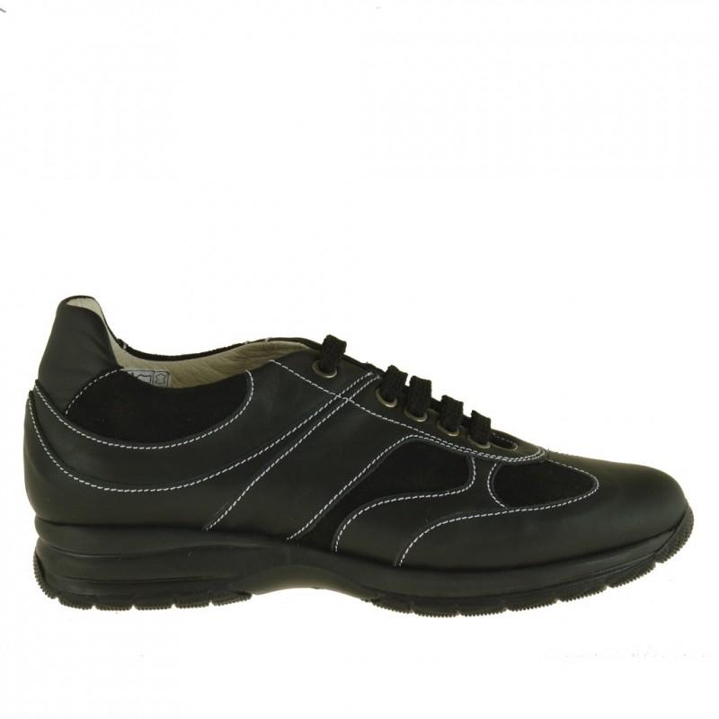 Chaussure sportif à lacets en cuir et daim noir - Pointures disponibles:  36, 37, 38