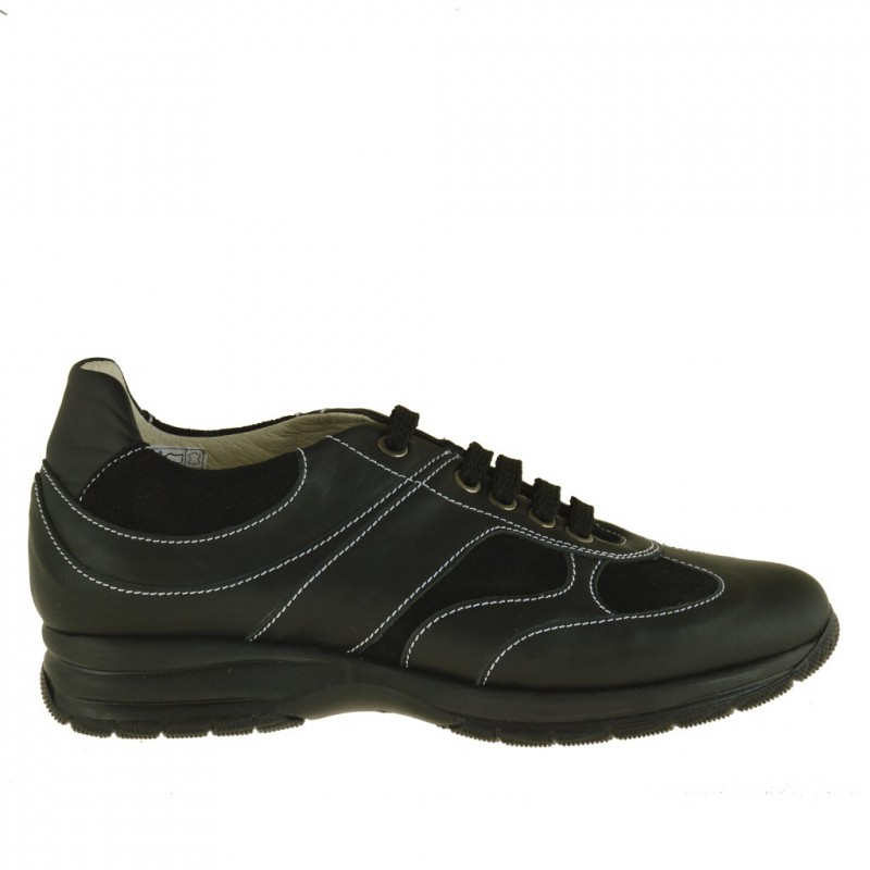 Men's sports shoe with laces in black leather and suede - Available sizes:  36, 37