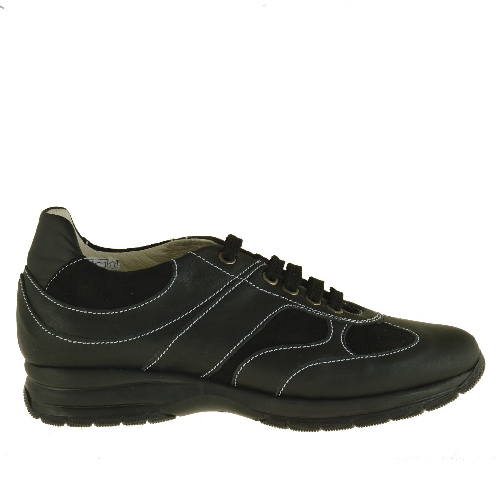 homme sport chaussure avec lacets en cuir et daim noir. Black Bedroom Furniture Sets. Home Design Ideas