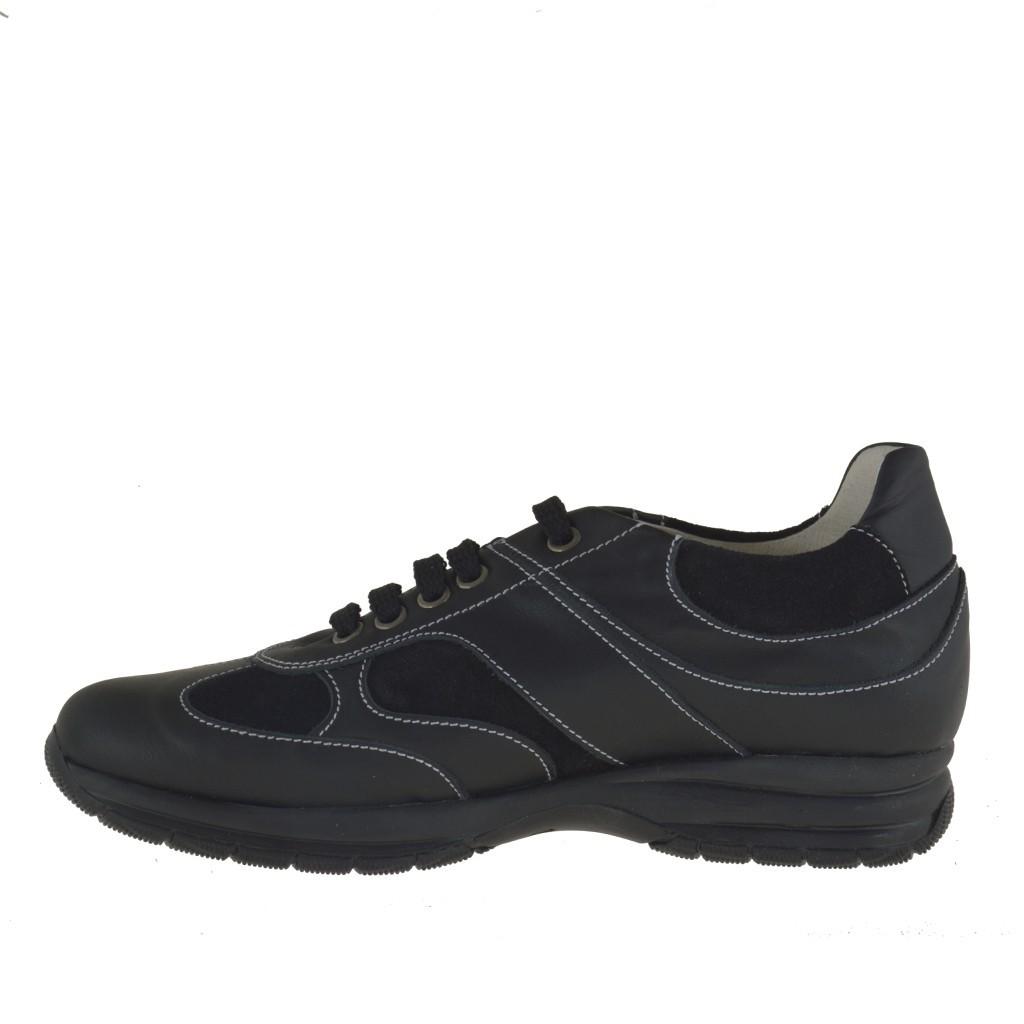 homme sport chaussure avec lacets en cuir et daim noir ghigocalzature. Black Bedroom Furniture Sets. Home Design Ideas