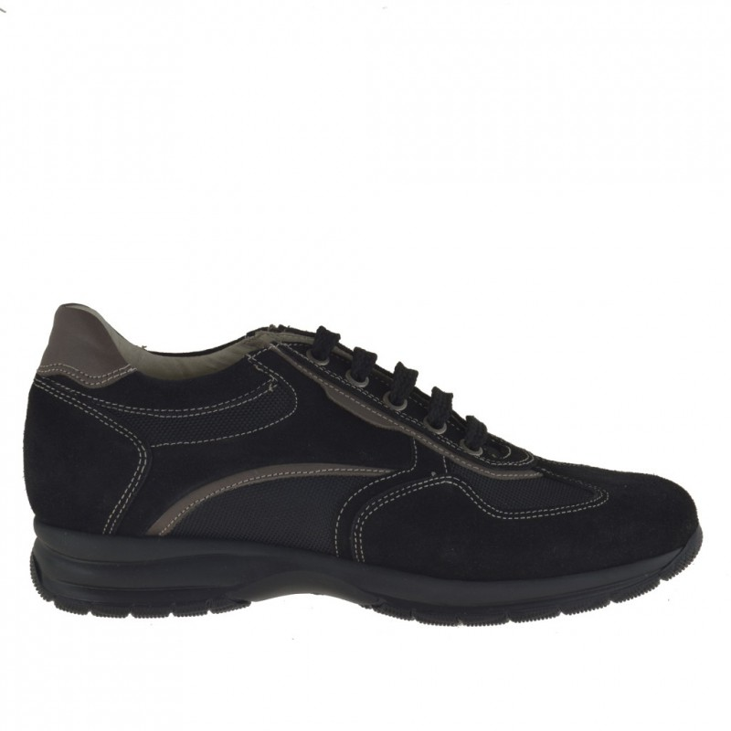 Men's sports lace-up shoe in black suede and fabric and taupe leather - Available sizes:  36
