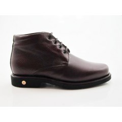 Men's ankle-high laced shoe in maroon leather - Available sizes:  47
