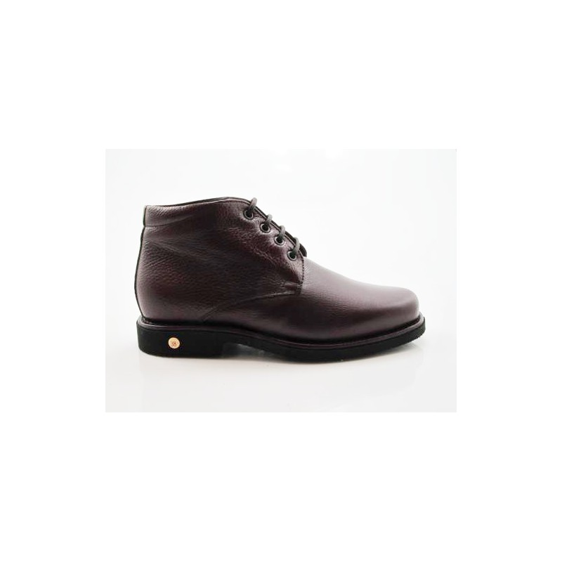 Men's ankle-high laced shoe in maroon leather - Available sizes:  36, 47