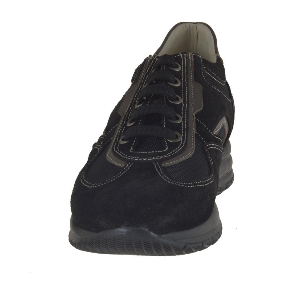 homme sportif chaussure avec lacets en daim et tissu noir ghigocalzature. Black Bedroom Furniture Sets. Home Design Ideas
