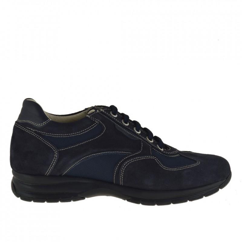 Zapato deportivo con cordones para hombre en gamuza y tela de color azul oscuro - Tallas disponibles:  36, 37