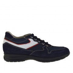 Men's sports lace-up shoe in dark blue suede and fabric and white and red leather - Available sizes:  36, 37