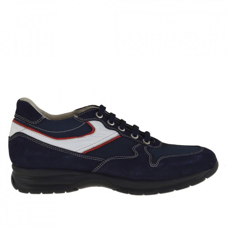 Chaussure à lacets pour hommes en daim et tissu bleu foncé et cuir blanc et rouge - Pointures disponibles:  36, 37